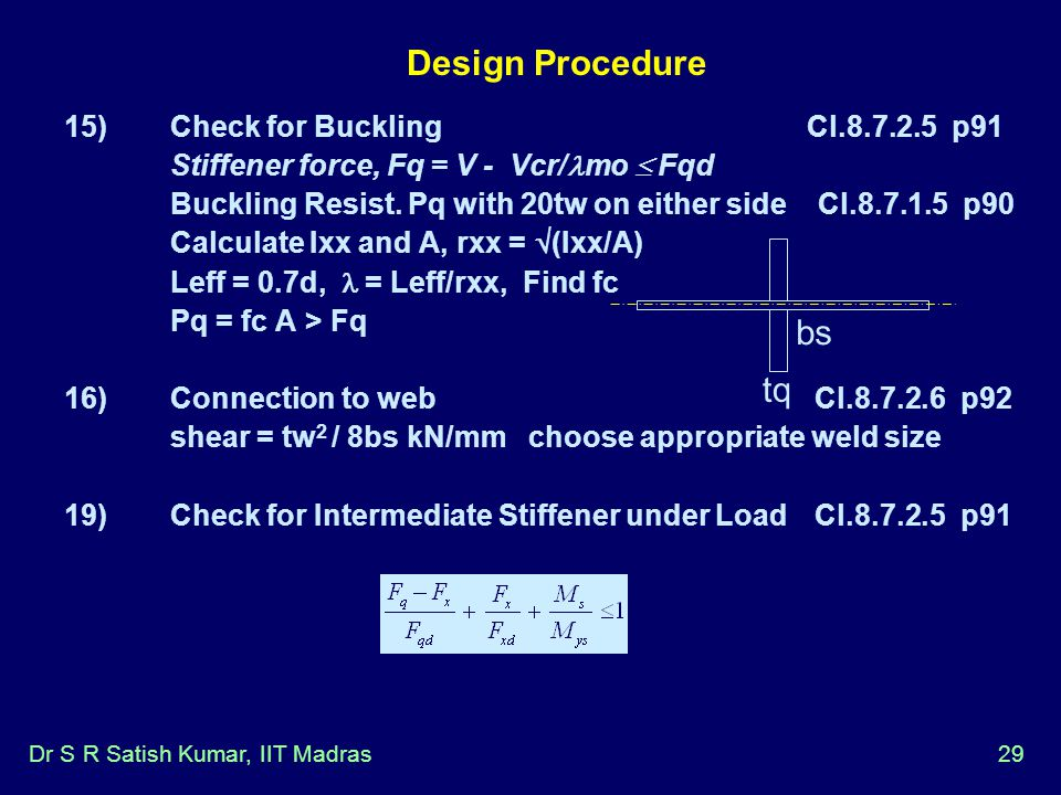 Design Procedure bs tq 15) Check for Buckling Cl p91