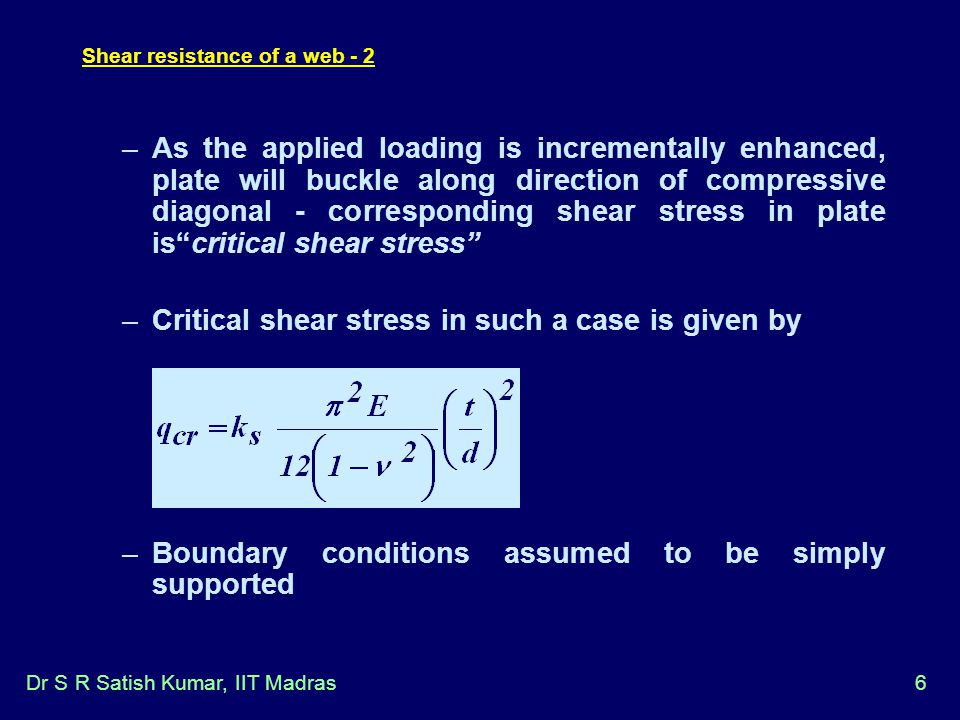 Shear resistance of a web - 2