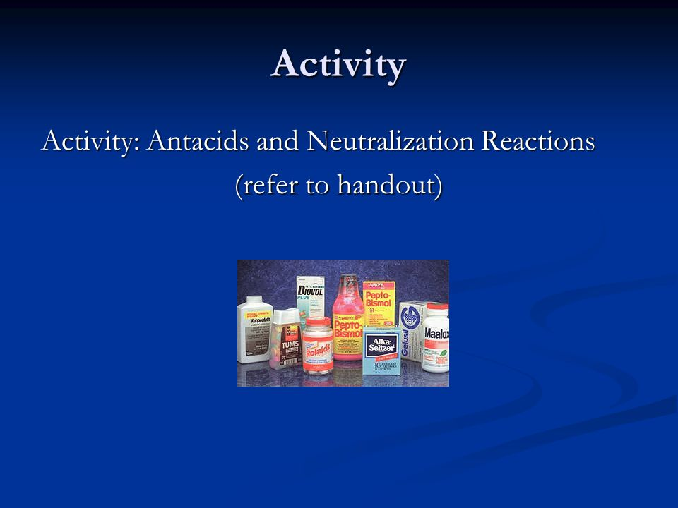 Activity Activity: Antacids and Neutralization Reactions