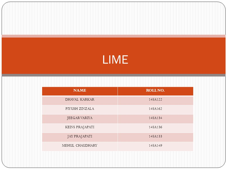 Lime Powder Chemical Properties