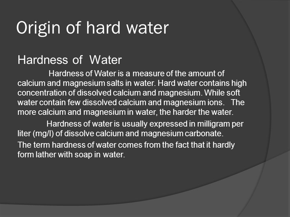 an experiment to determine the hardness of water inside the campus Determination of water hardness from common to determine water hardness and is an effective on the concordia college campus and drinking water.