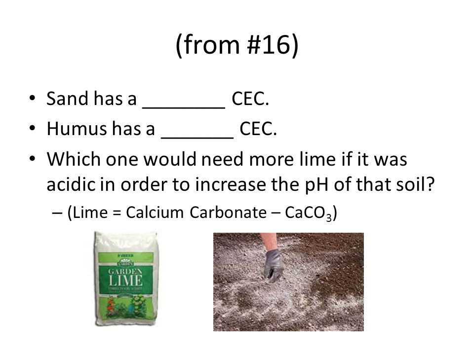 (from #16) Sand has a ________ CEC. Humus has a _______ CEC.