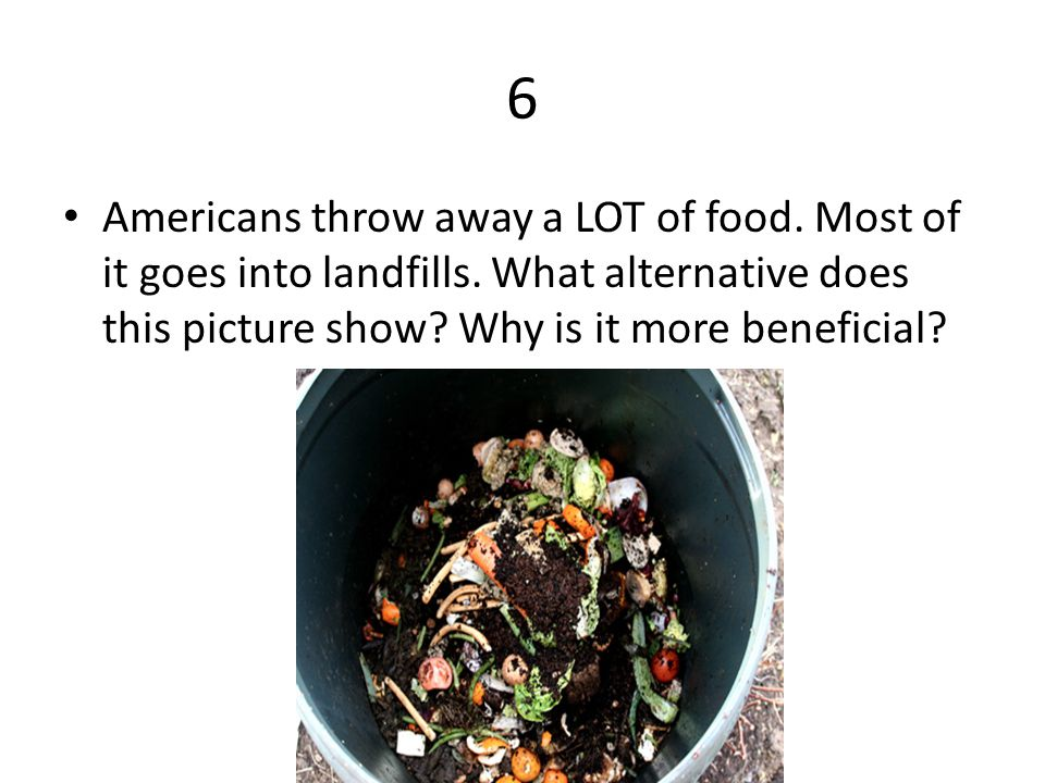 6 Americans throw away a LOT of food. Most of it goes into landfills.