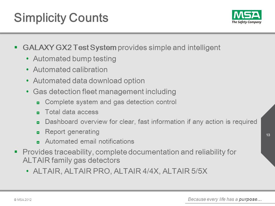 Simplicity Counts GALAXY GX2 Test System provides simple and intelligent. Automated bump testing. Automated calibration.