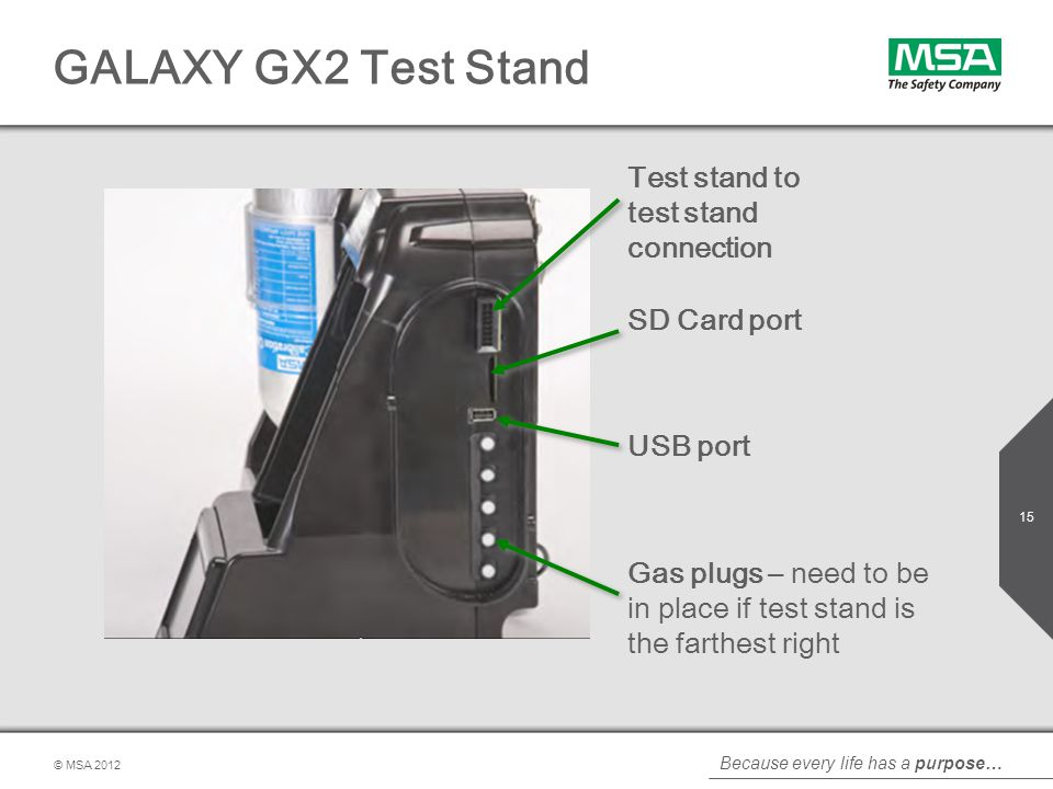 GALAXY GX2 Test Stand Test stand to test stand connection SD Card port