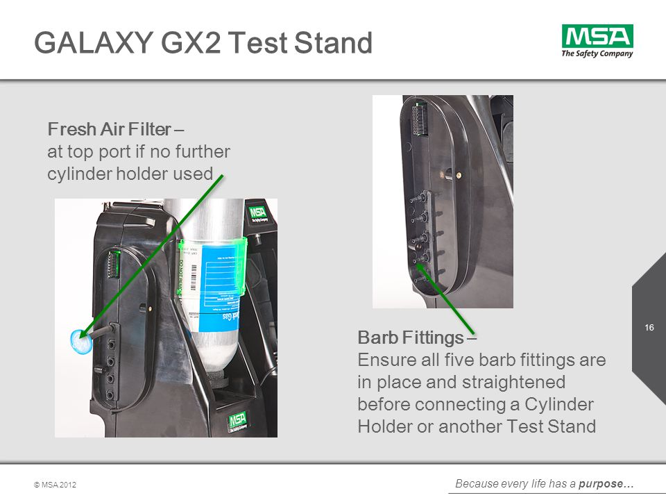 GALAXY GX2 Test Stand Fresh Air Filter – at top port if no further cylinder holder used.