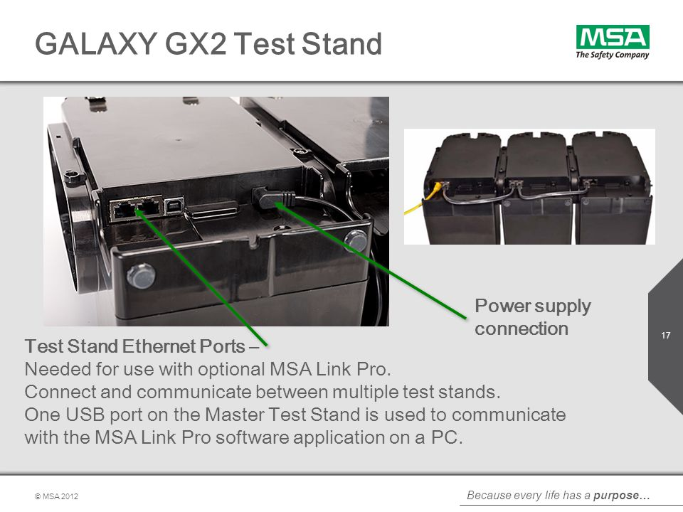 GALAXY GX2 Test Stand Power supply connection