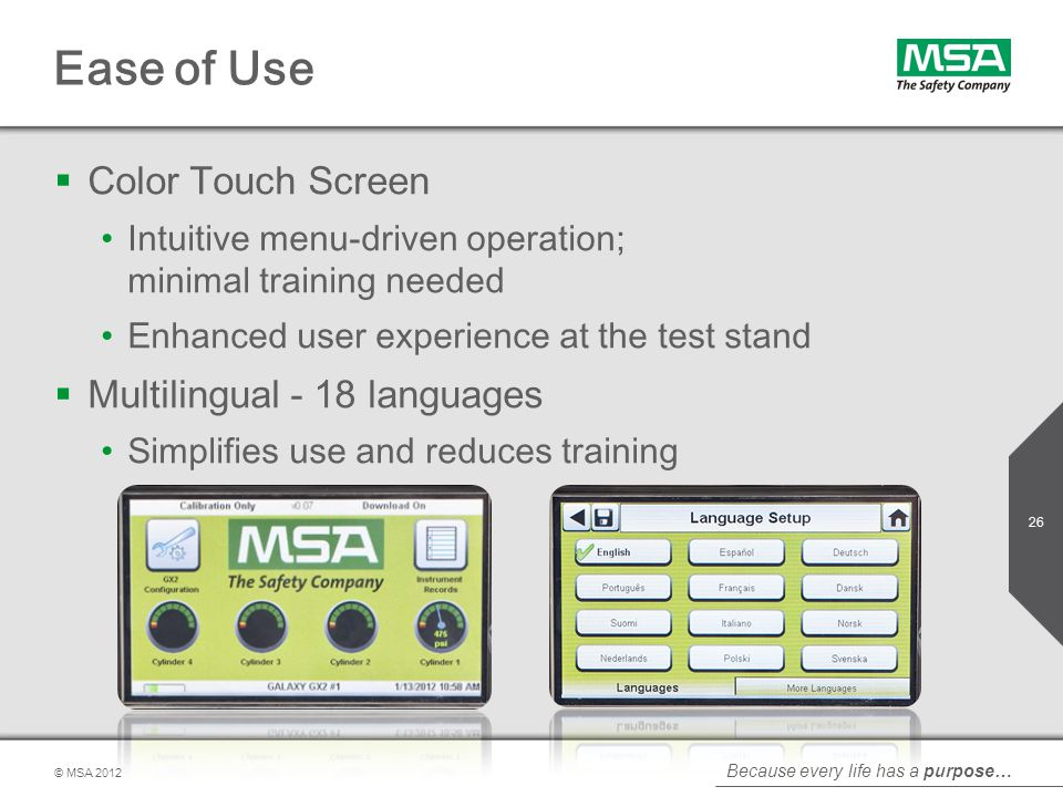 Ease of Use Color Touch Screen Multilingual - 18 languages