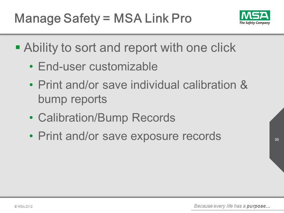 Manage Safety = MSA Link Pro