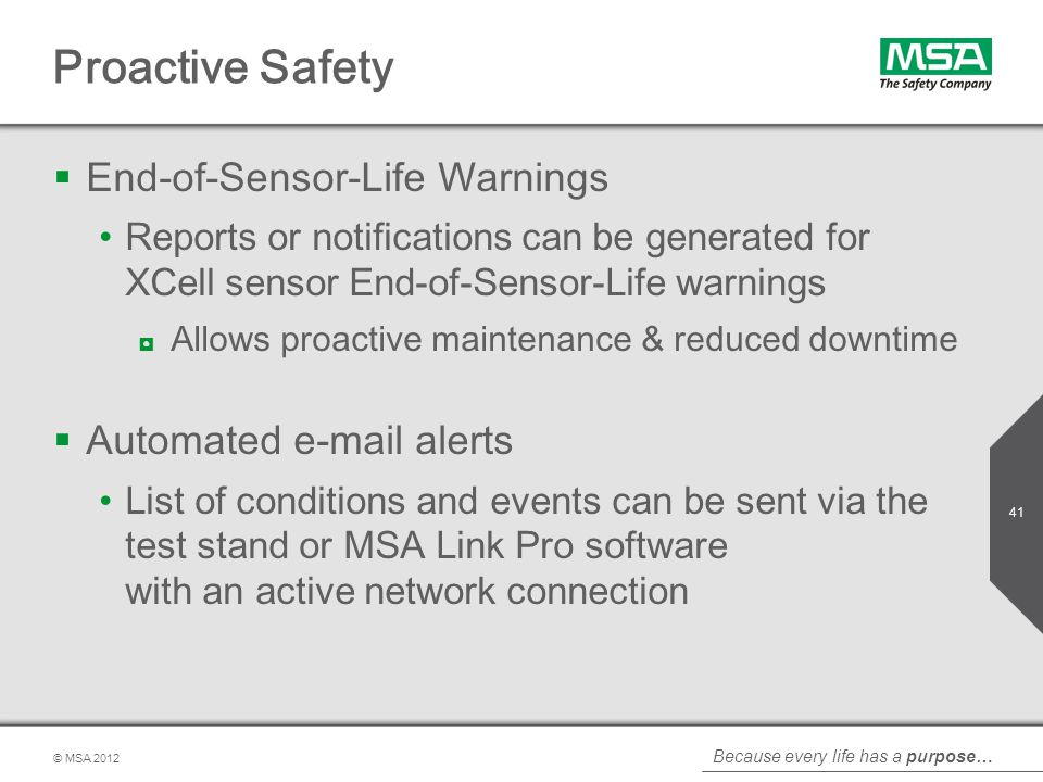 Proactive Safety End-of-Sensor-Life Warnings Automated e-mail alerts