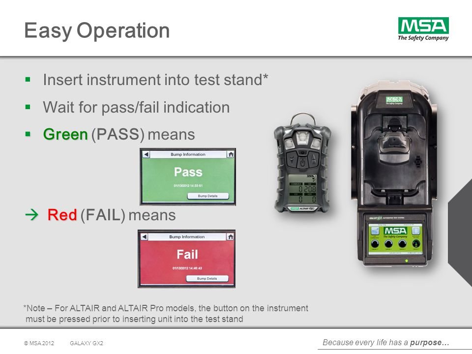 Easy Operation Insert instrument into test stand*