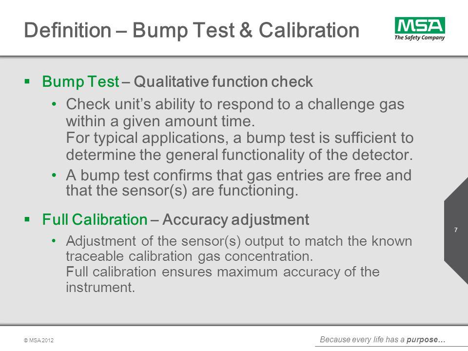 Definition – Bump Test & Calibration