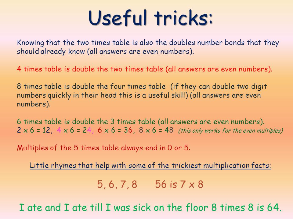 Periodic Table Easy Way To Remember 8 Times Tables Welcome Multiplication And Division Fawkham
