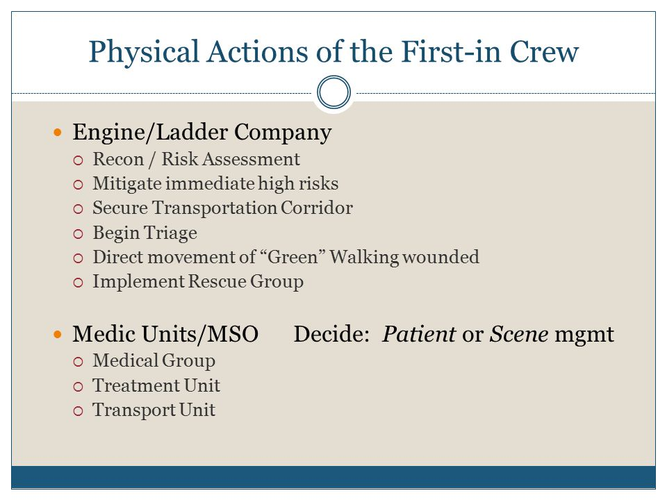 Physical Actions of the First-in Crew