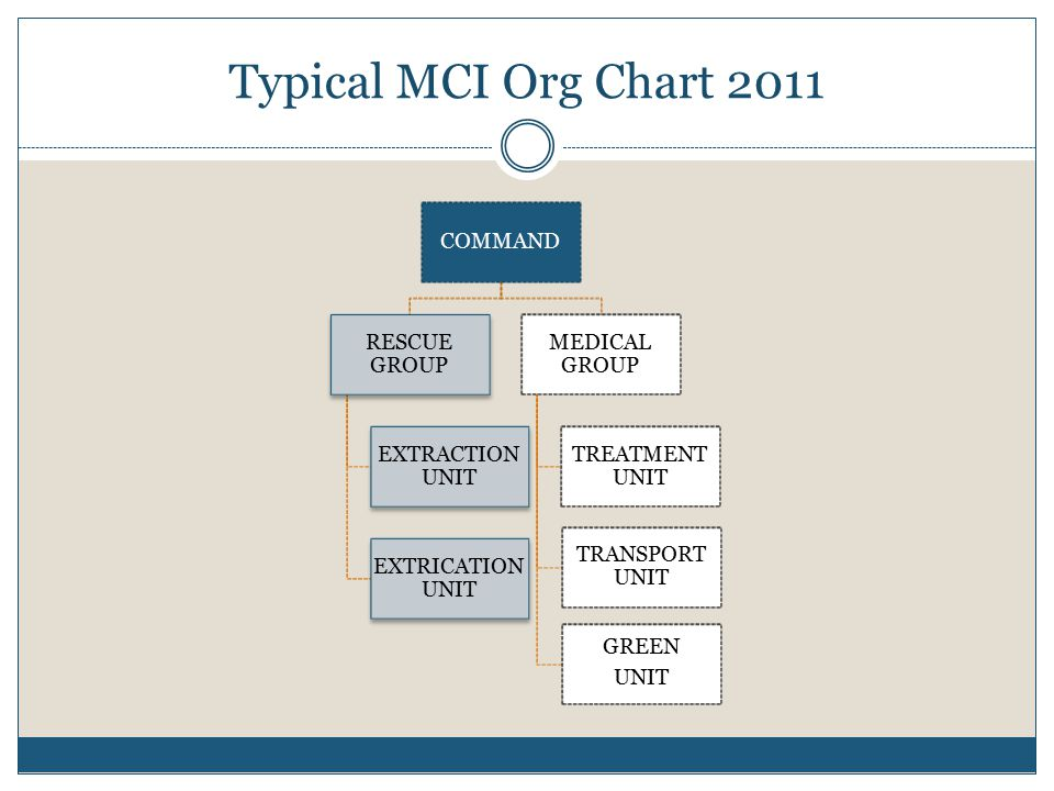 Typical MCI Org Chart 2011 COMMAND RESCUE GROUP EXTRACTION UNIT