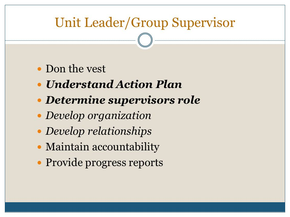 Unit Leader/Group Supervisor