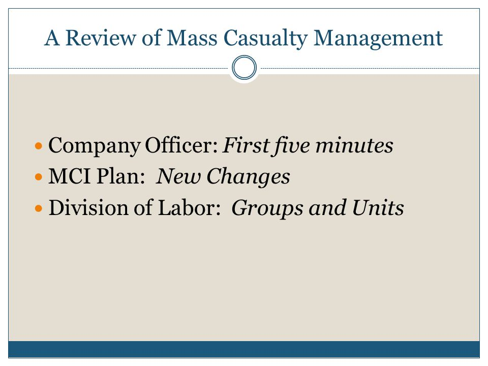 A Review of Mass Casualty Management