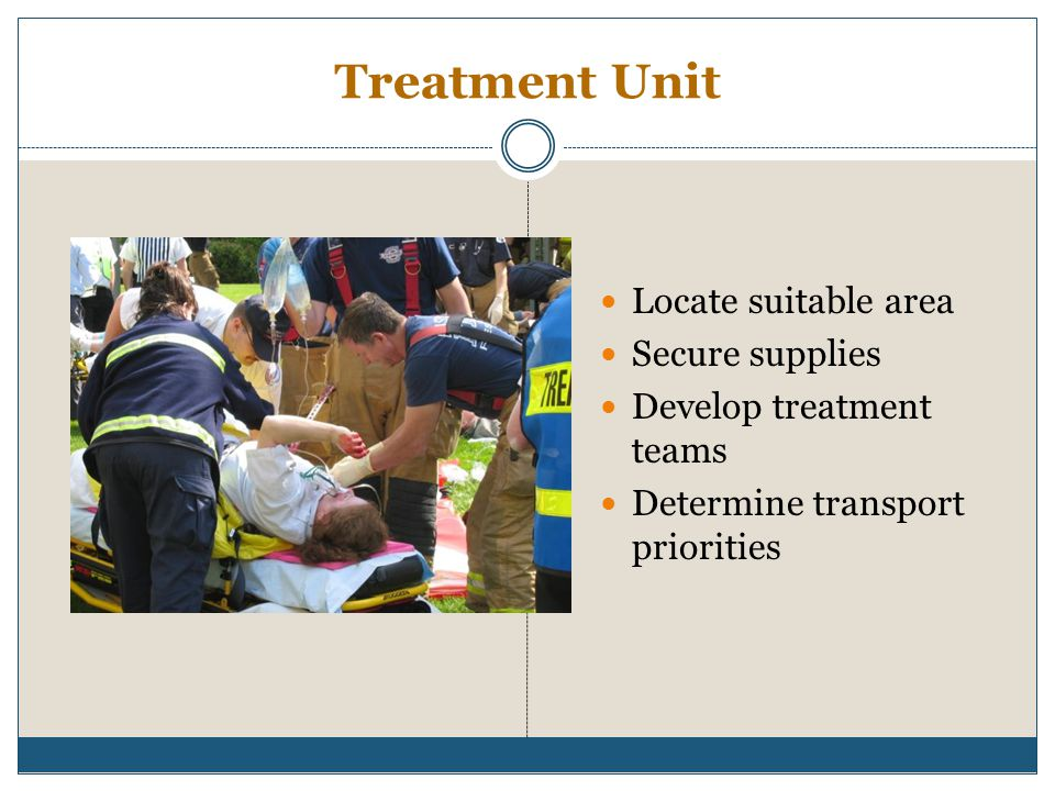 Treatment Unit Locate suitable area Secure supplies