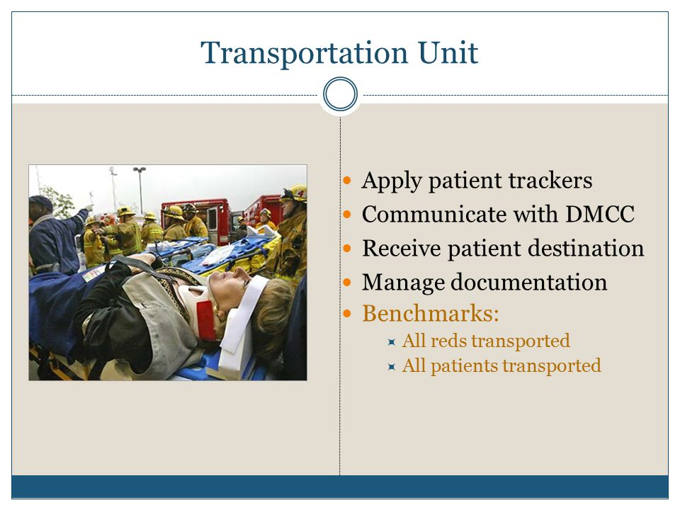 Transportation Unit Apply patient trackers Communicate with DMCC