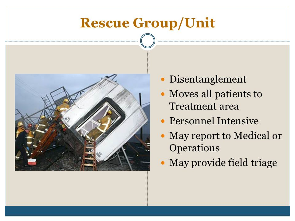 Rescue Group/Unit Disentanglement Moves all patients to Treatment area
