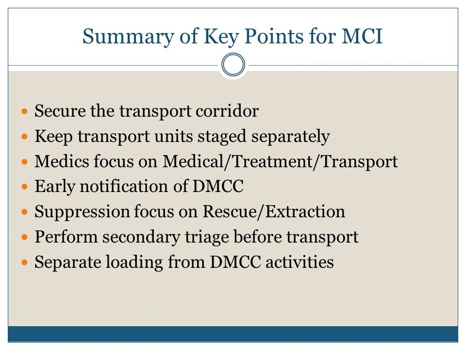 Summary of Key Points for MCI