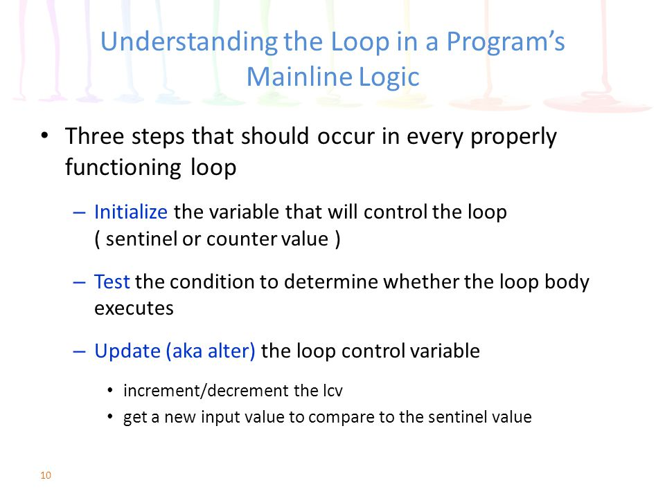 Understanding the Loop in a Program's Mainline Logic