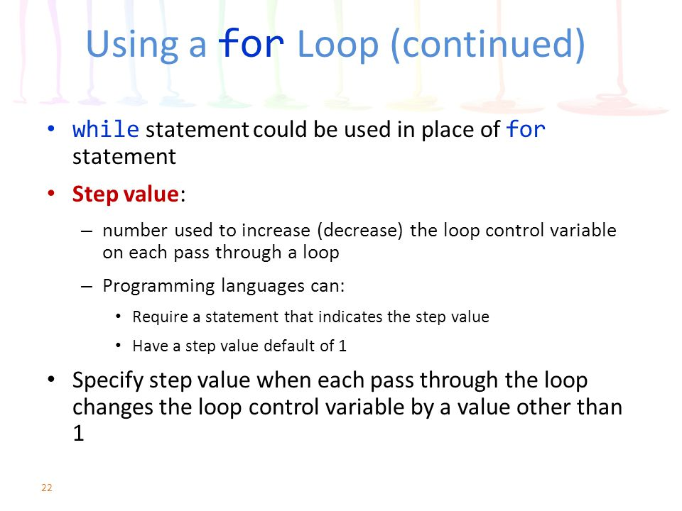 Using a for Loop (continued)