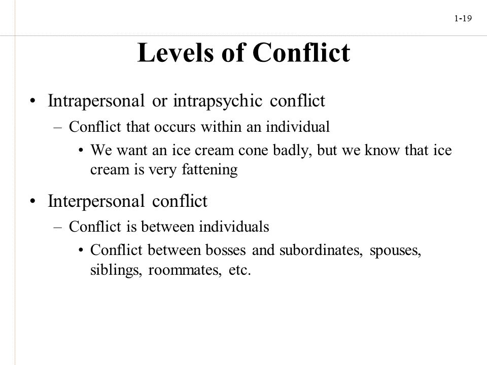 intragroup conflict and interpersonal conflict • interpersonal: conflict among two or more individuals (for example, an argument between a boyfriend and girlfriend, or between a student and her/his teacher, or child and parent, or between friends/colleagues.