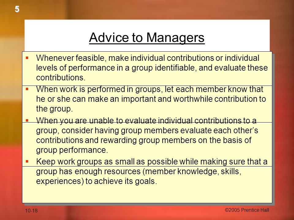 5 Advice to Managers.