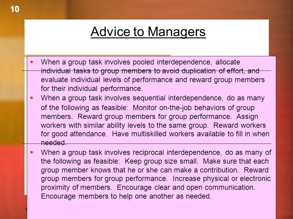 10 Advice to Managers.