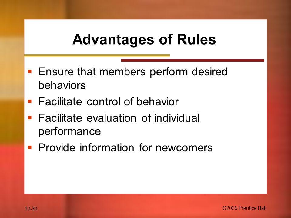 Advantages of Rules Ensure that members perform desired behaviors
