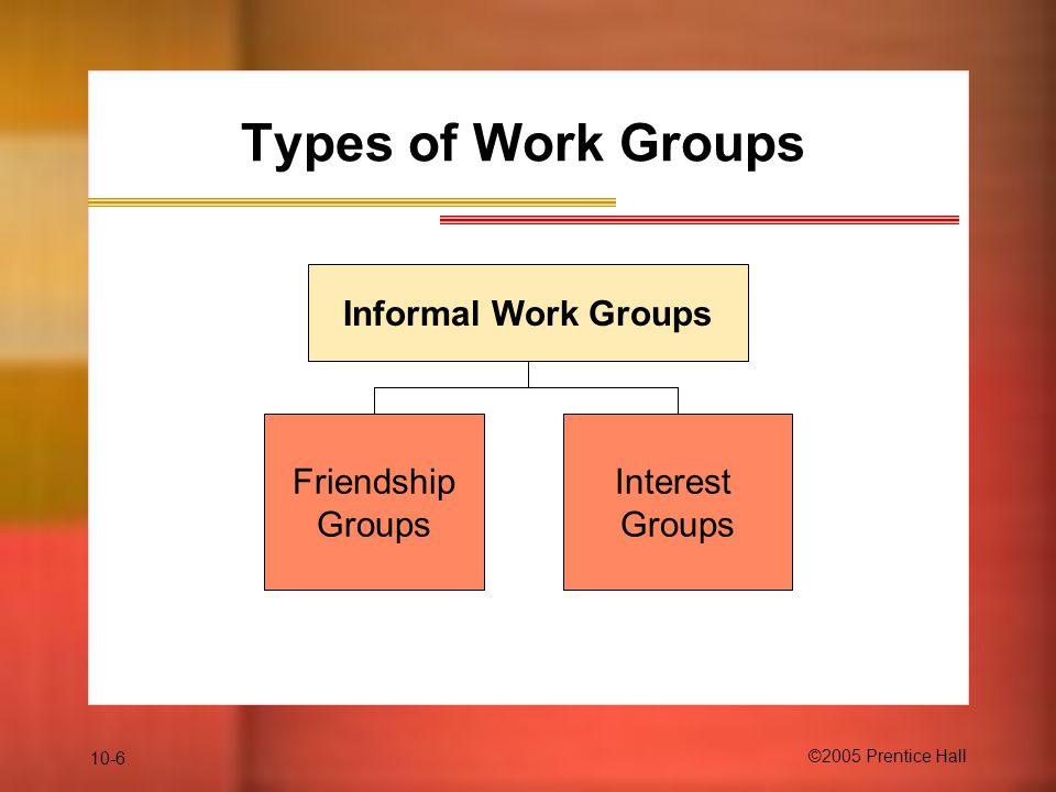 Types of Work Groups Informal Work Groups Friendship Groups Interest