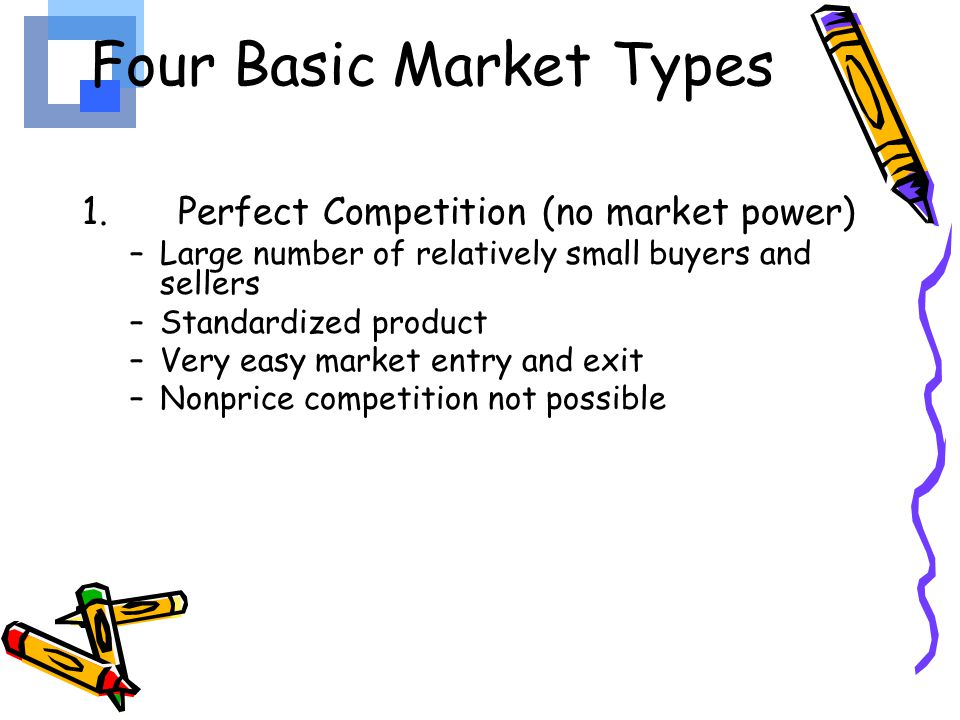 an analysis of four different types of market structures Understanding market structures - i have been hired as a consultant by the mayor to look at the various market structures in order to fully analyze the market structures i will explain in depth the different types of market structures, one example of a market structure here in smallville, ohio, i will also share how high entry barriers into our market will affect the profitability in the long .