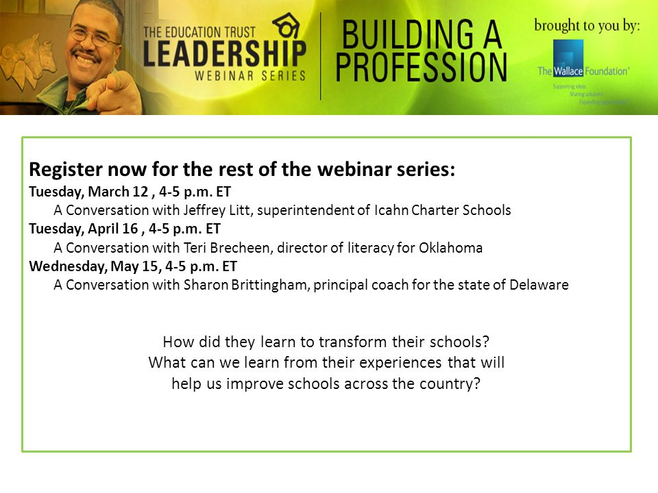 Register now for the rest of the webinar series: