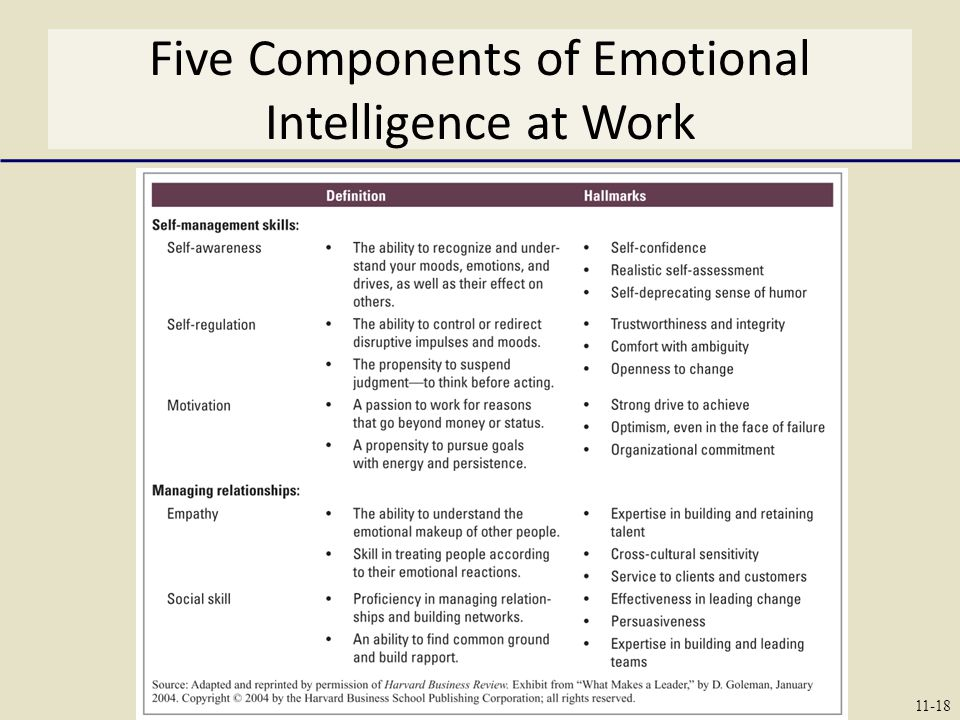 Five Components of Emotional Intelligence at Work