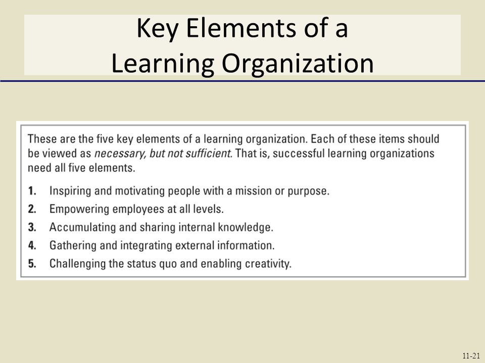 Key Elements of a Learning Organization