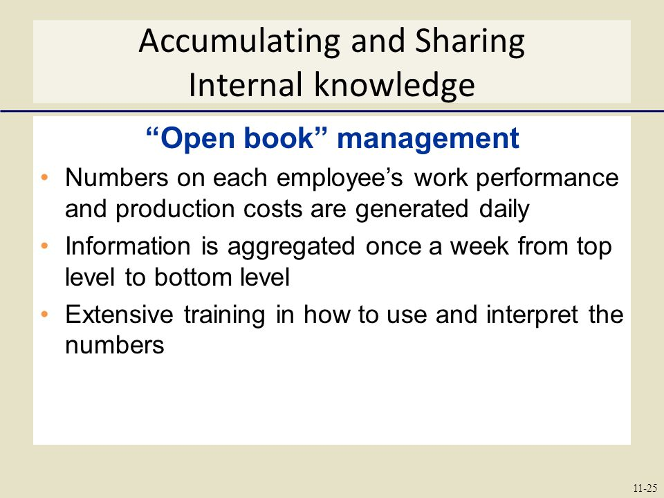 Accumulating and Sharing Internal knowledge