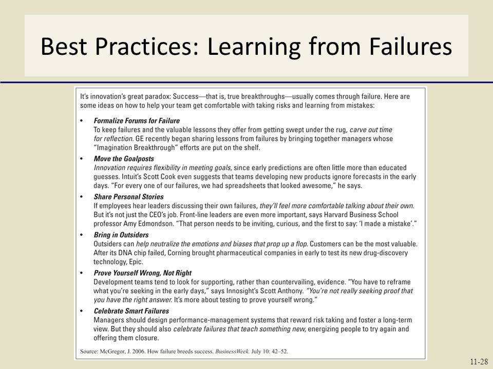 Best Practices: Learning from Failures