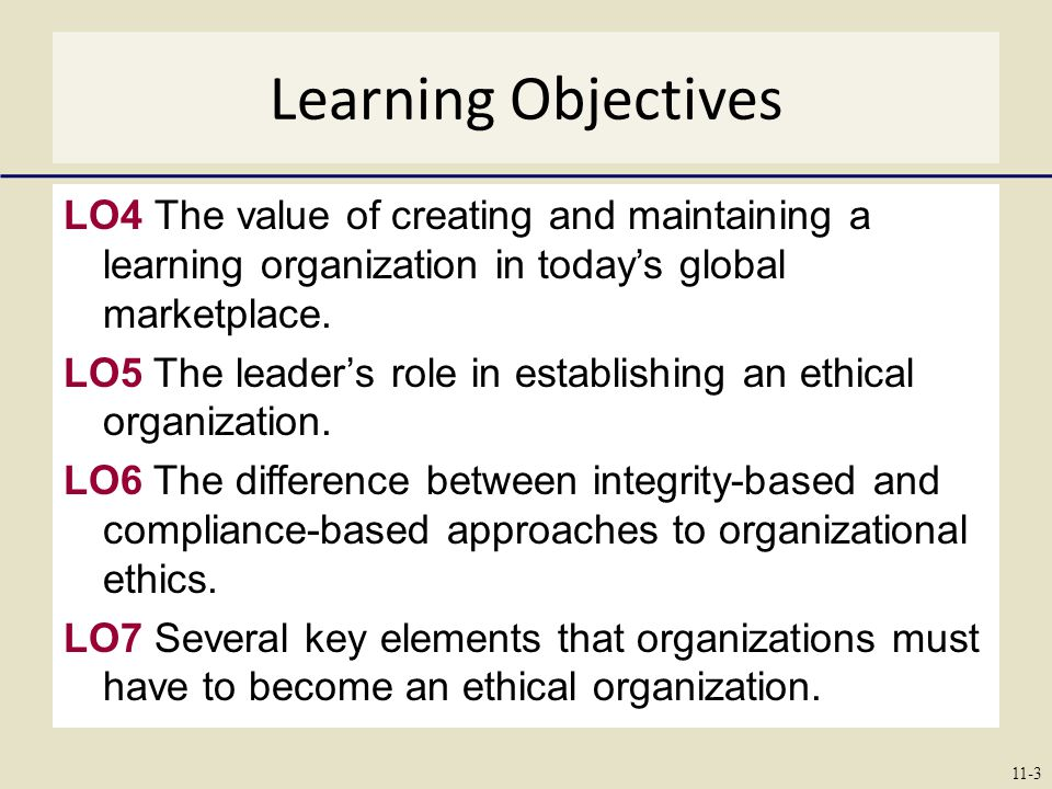 Learning Objectives LO4 The value of creating and maintaining a learning organization in today's global marketplace.