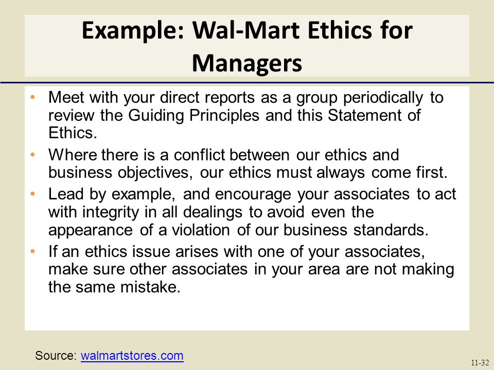 Example: Wal-Mart Ethics for Managers