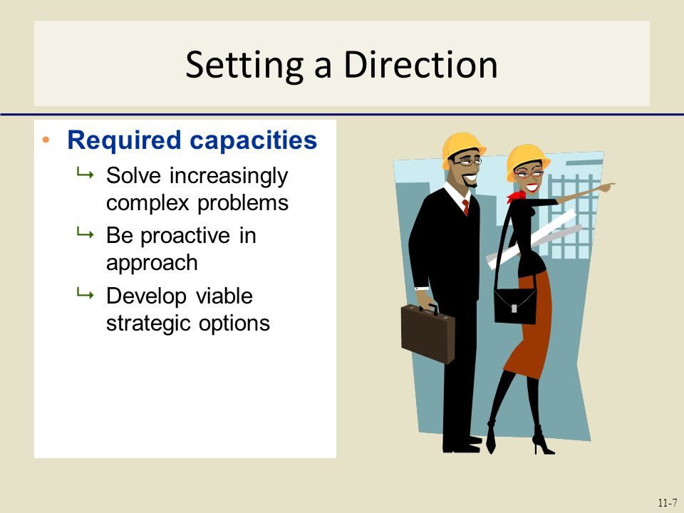 Setting a Direction Required capacities