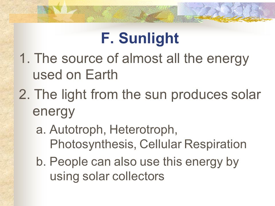 F. Sunlight 1. The source of almost all the energy used on Earth