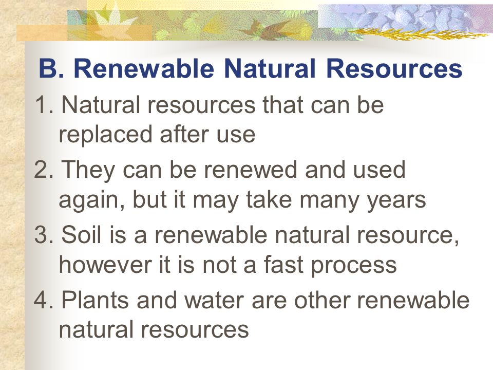 B. Renewable Natural Resources