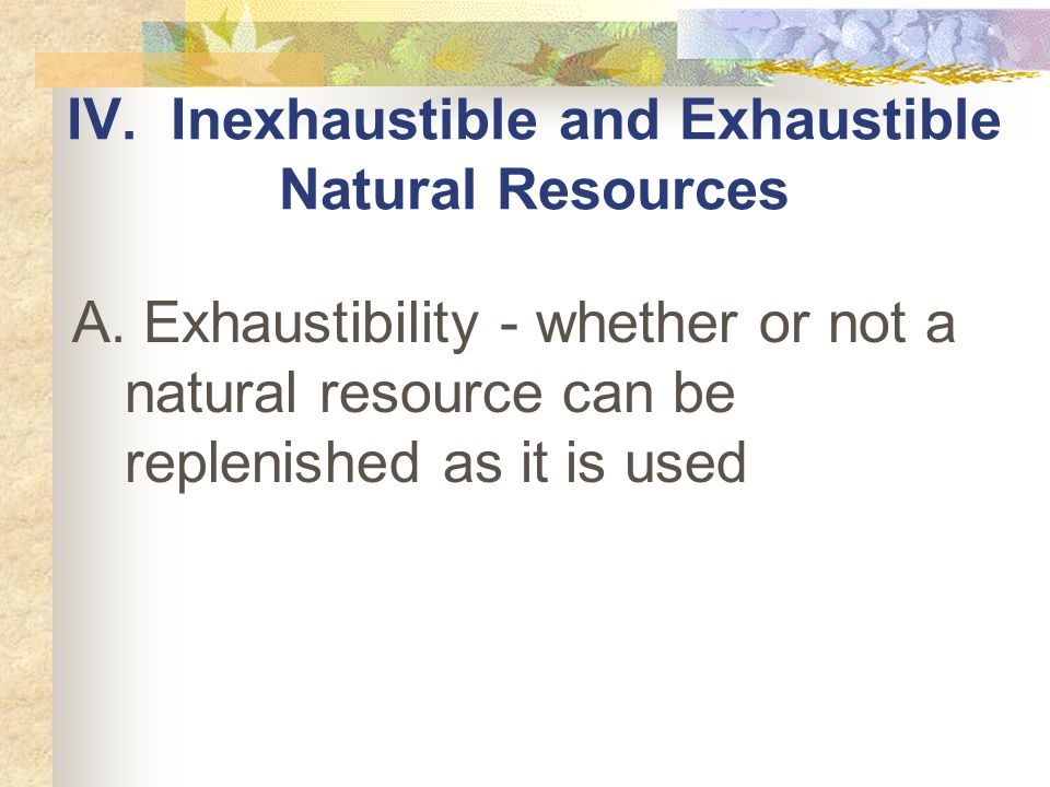 IV. Inexhaustible and Exhaustible Natural Resources