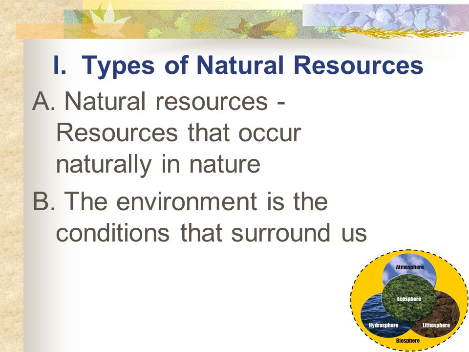 I. Types of Natural Resources