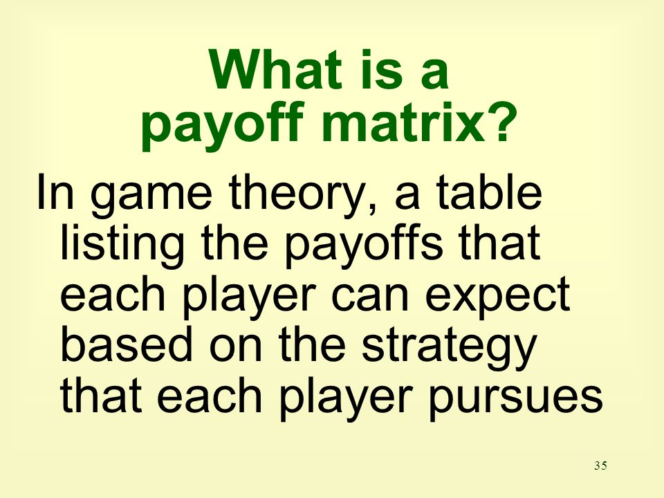 What is a payoff matrix.