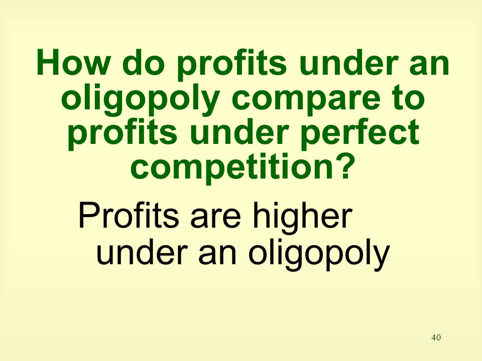 How do profits under an oligopoly compare to profits under perfect competition
