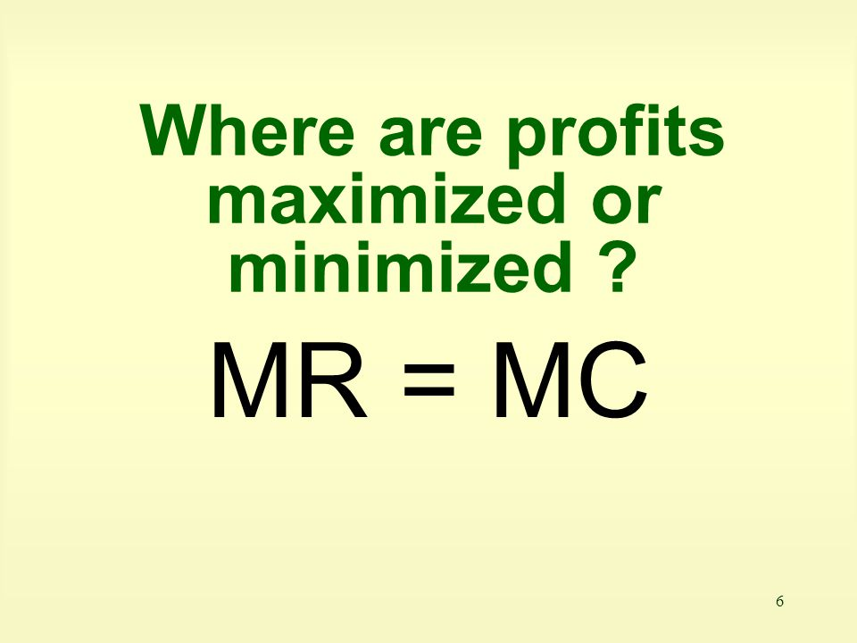 Where are profits maximized or minimized