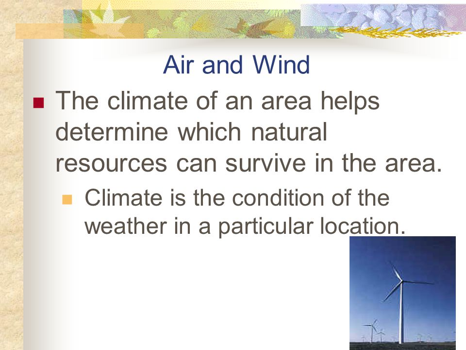 Air and Wind The climate of an area helps determine which natural resources can survive in the area.