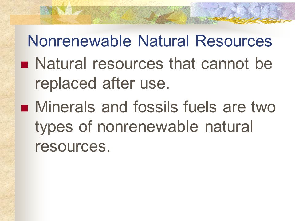 Nonrenewable Natural Resources